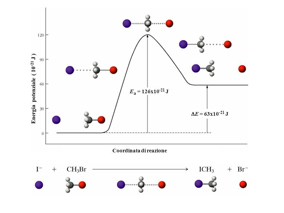 Energia potenziale ( 10 - 21 J ) Coordinata di reazione E a = 126x10 - 21 J E = 63x10 - 21 J
