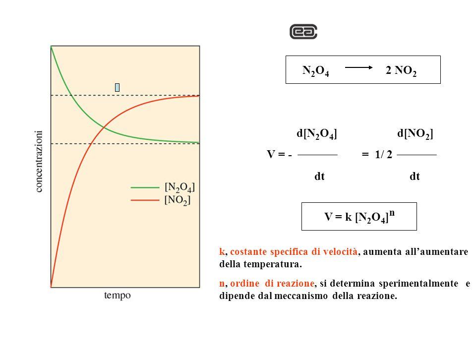 N 2 O 4 2 NO 2 d[N 2 O 4 ] d[NO 2 ] V = -= 1/ 2 dt V = k [N 2 O 4 ] n k, costante specifica di velocità, aumenta allaumentare della temperatura. n, or