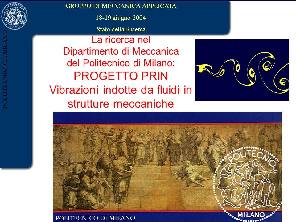 POLIITECNICO DI MILANO GRUPPO DI MECCANICA APPLICATA 18-19 giugno 2004 Stato della Ricerca La ricerca nel Dipartimento di Meccanica del Politecnico di