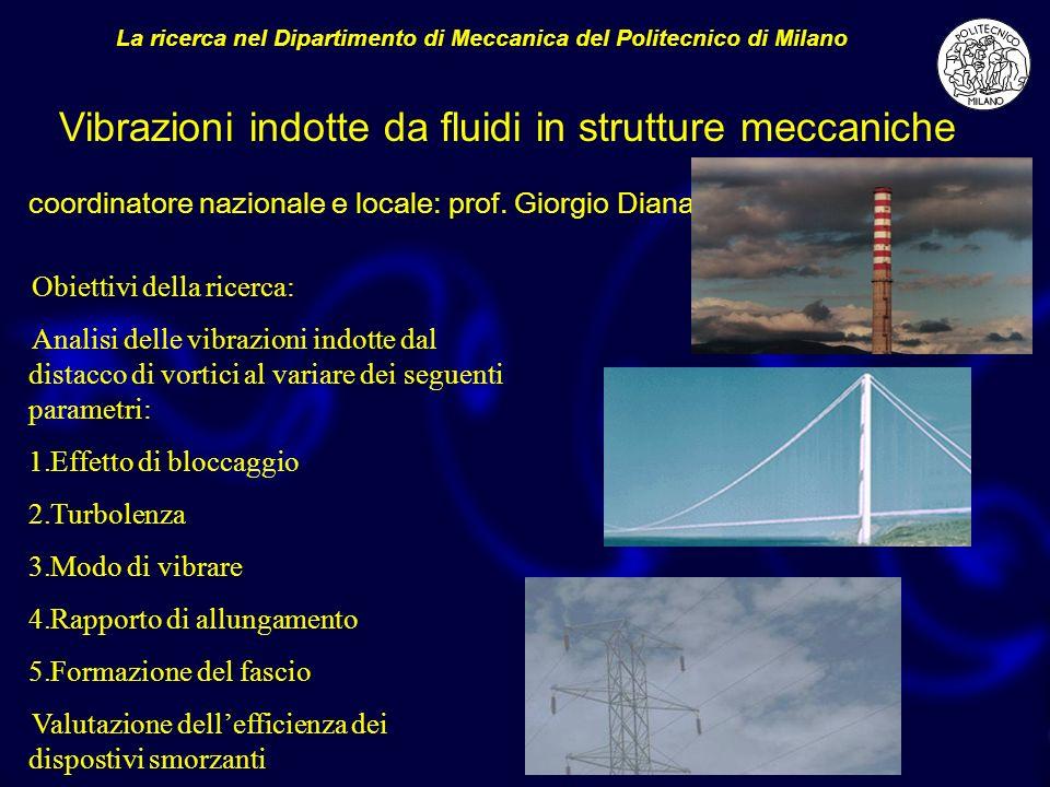 coordinatore nazionale e locale: prof. Giorgio Diana La ricerca nel Dipartimento di Meccanica del Politecnico di Milano Obiettivi della ricerca: Anali