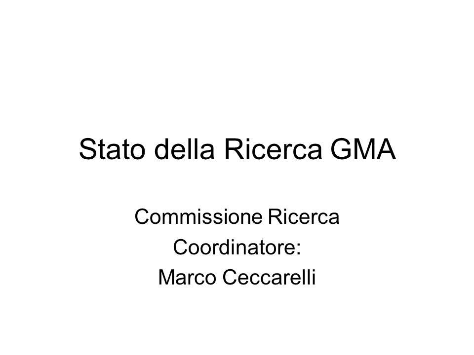 Stato della Ricerca GMA Commissione Ricerca Coordinatore: Marco Ceccarelli