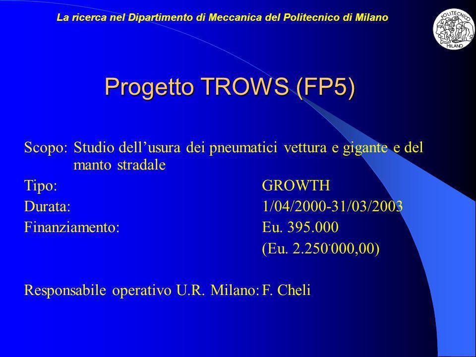 Progetto TROWS (FP5) Scopo:Studio dellusura dei pneumatici vettura e gigante e del manto stradale Tipo:GROWTH Durata:1/04/2000-31/03/2003 Finanziamento:Eu.