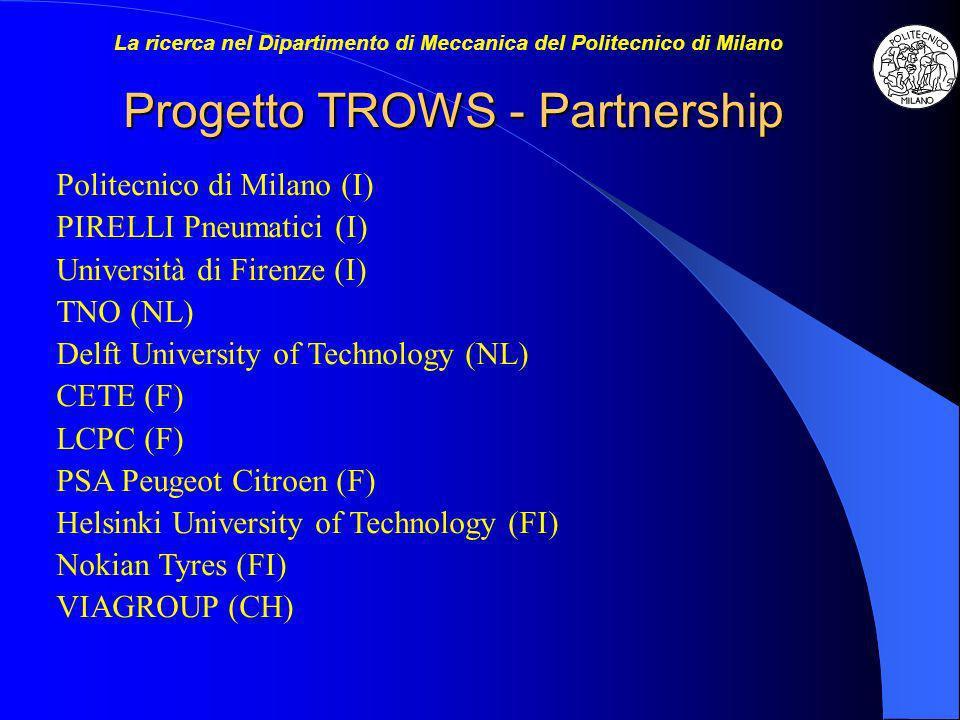 Progetto TROWS - Partnership Politecnico di Milano (I) PIRELLI Pneumatici (I) Università di Firenze (I) TNO (NL) Delft University of Technology (NL) C