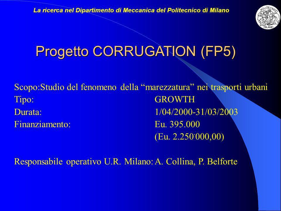 Progetto CORRUGATION (FP5) Scopo:Studio del fenomeno della marezzatura nei trasporti urbani Tipo:GROWTH Durata:1/04/2000-31/03/2003 Finanziamento:Eu.