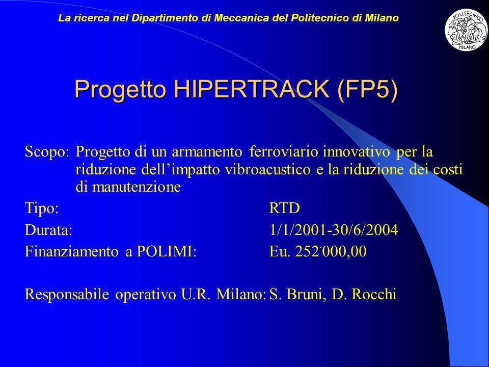 Progetto HIPERTRACK (FP5) Scopo:Progetto di un armamento ferroviario innovativo per la riduzione dellimpatto vibroacustico e la riduzione dei costi di manutenzione Tipo:RTD Durata:1/1/2001-30/6/2004 Finanziamento a POLIMI:Eu.