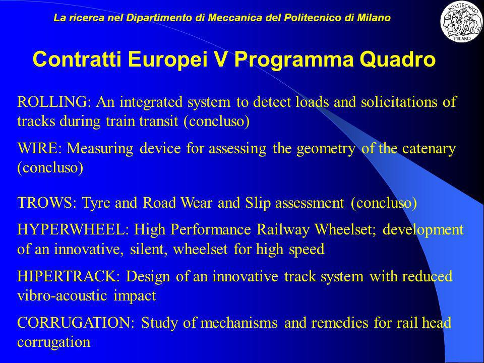 EURNEX: European Rail Research Network of Excellence InMAR: Use of intelligent (smart) materials for active noise reduction in vehicles MODTRAIN: Innovative modular vehicle concepts for an integrated european railway system SPURT: Seamless Public Urban Rail Transport TURNOUTS: New concepts for turnouts in urban rail transit infrastructure MODTRAIN: WEATHER: Wind Early Alarm System for terrestrial Transportation Handling Evaluation …….