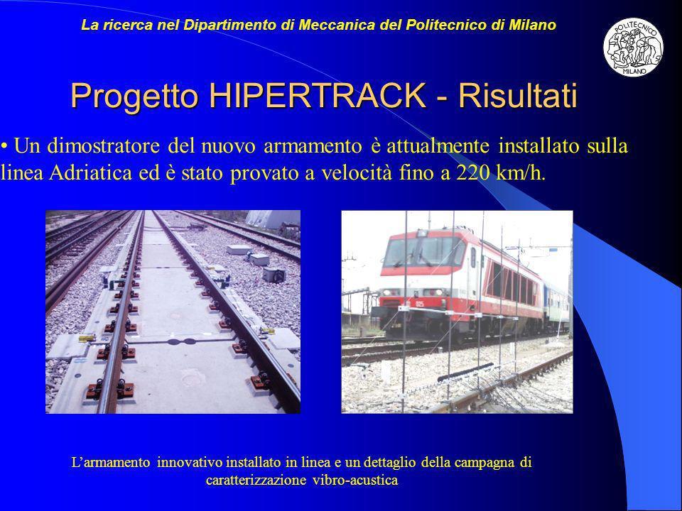 Progetto HIPERTRACK - Risultati Un dimostratore del nuovo armamento è attualmente installato sulla linea Adriatica ed è stato provato a velocità fino a 220 km/h.