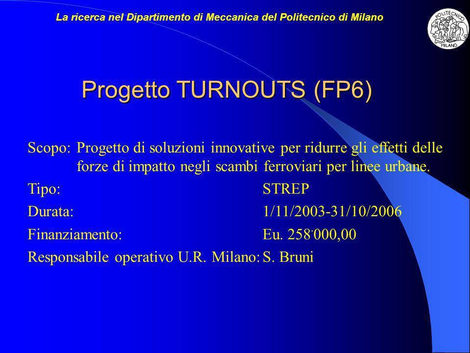 Progetto TURNOUTS (FP6) Scopo:Progetto di soluzioni innovative per ridurre gli effetti delle forze di impatto negli scambi ferroviari per linee urbane.