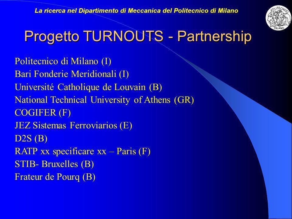 Progetto TURNOUTS - Partnership Politecnico di Milano (I) Bari Fonderie Meridionali (I) Université Catholique de Louvain (B) National Technical Univer