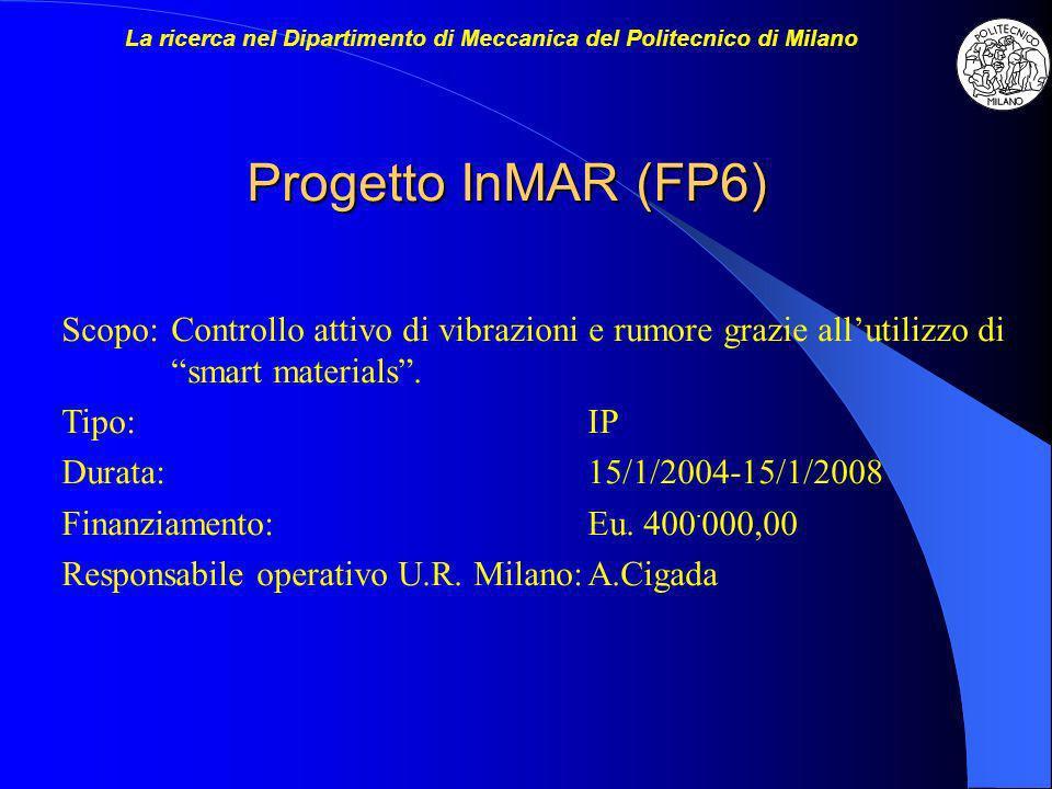 Progetto InMAR (FP6) Scopo:Controllo attivo di vibrazioni e rumore grazie allutilizzo di smart materials. Tipo:IP Durata:15/1/2004-15/1/2008 Finanziam
