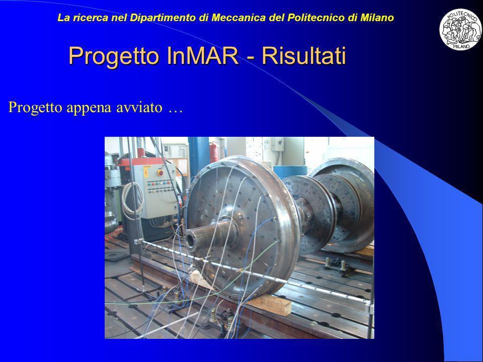 Progetto InMAR - Risultati Progetto appena avviato … La ricerca nel Dipartimento di Meccanica del Politecnico di Milano
