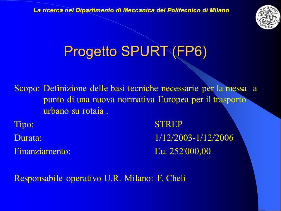 Progetto SPURT (FP6) Scopo:Definizione delle basi tecniche necessarie per la messa a punto di una nuova normativa Europea per il trasporto urbano su r