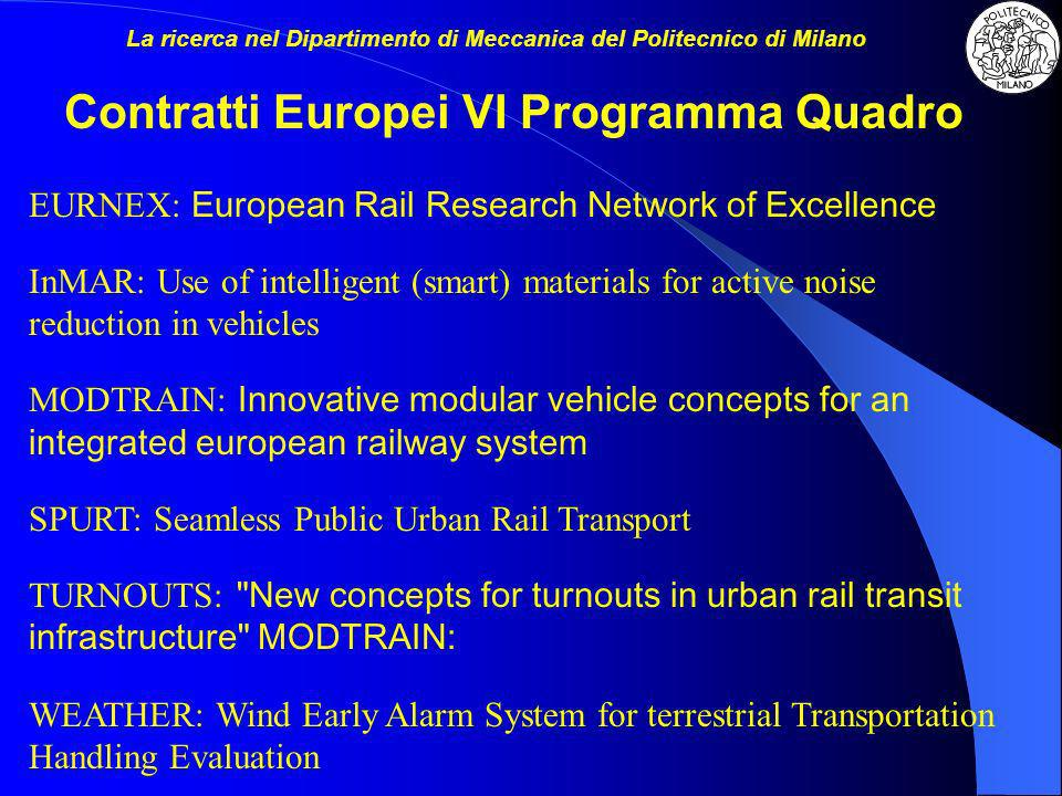 EURNEX: European Rail Research Network of Excellence InMAR: Use of intelligent (smart) materials for active noise reduction in vehicles MODTRAIN: Inno