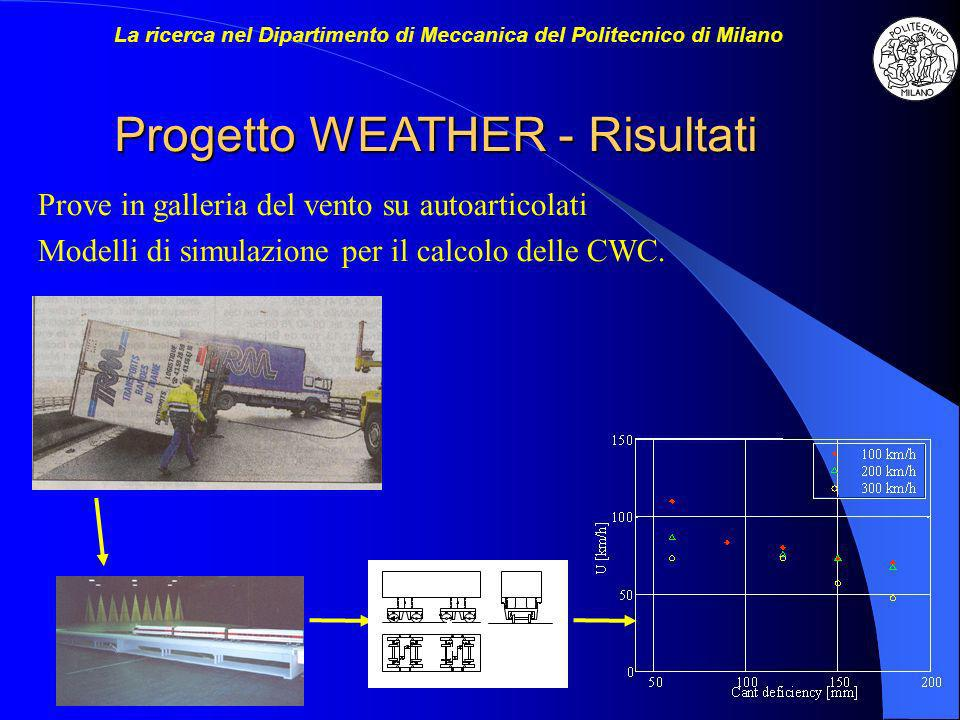 Progetto WEATHER - Risultati Prove in galleria del vento su autoarticolati Modelli di simulazione per il calcolo delle CWC. La ricerca nel Dipartiment