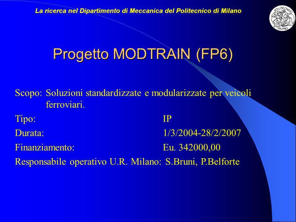 Progetto MODTRAIN (FP6) Scopo:Soluzioni standardizzate e modularizzate per veicoli ferroviari. Tipo:IP Durata:1/3/2004-28/2/2007 Finanziamento:Eu. 342