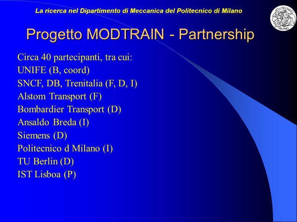 Progetto MODTRAIN - Partnership Circa 40 partecipanti, tra cui: UNIFE (B, coord) SNCF, DB, Trenitalia (F, D, I) Alstom Transport (F) Bombardier Transport (D) Ansaldo Breda (I) Siemens (D) Politecnico d Milano (I) TU Berlin (D) IST Lisboa (P)