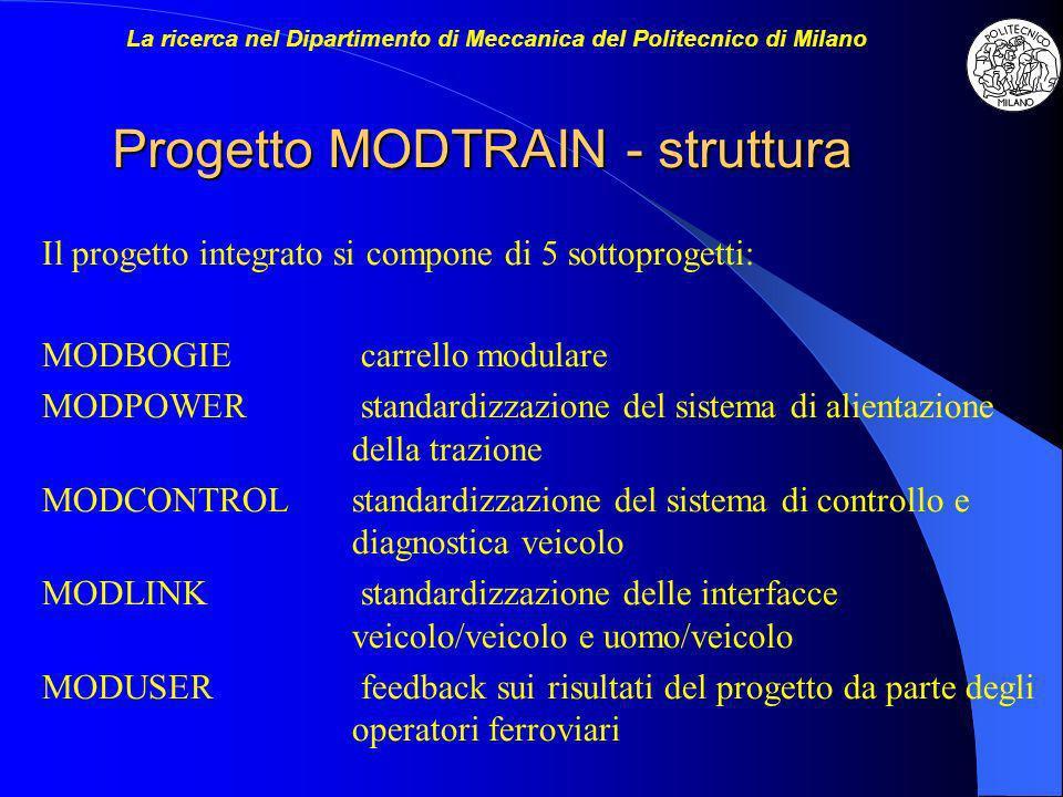 Progetto MODTRAIN - struttura Il progetto integrato si compone di 5 sottoprogetti: MODBOGIEcarrello modulare MODPOWERstandardizzazione del sistema di alientazione della trazione MODCONTROLstandardizzazione del sistema di controllo e diagnostica veicolo MODLINKstandardizzazione delle interfacce veicolo/veicolo e uomo/veicolo MODUSERfeedback sui risultati del progetto da parte degli operatori ferroviari La ricerca nel Dipartimento di Meccanica del Politecnico di Milano