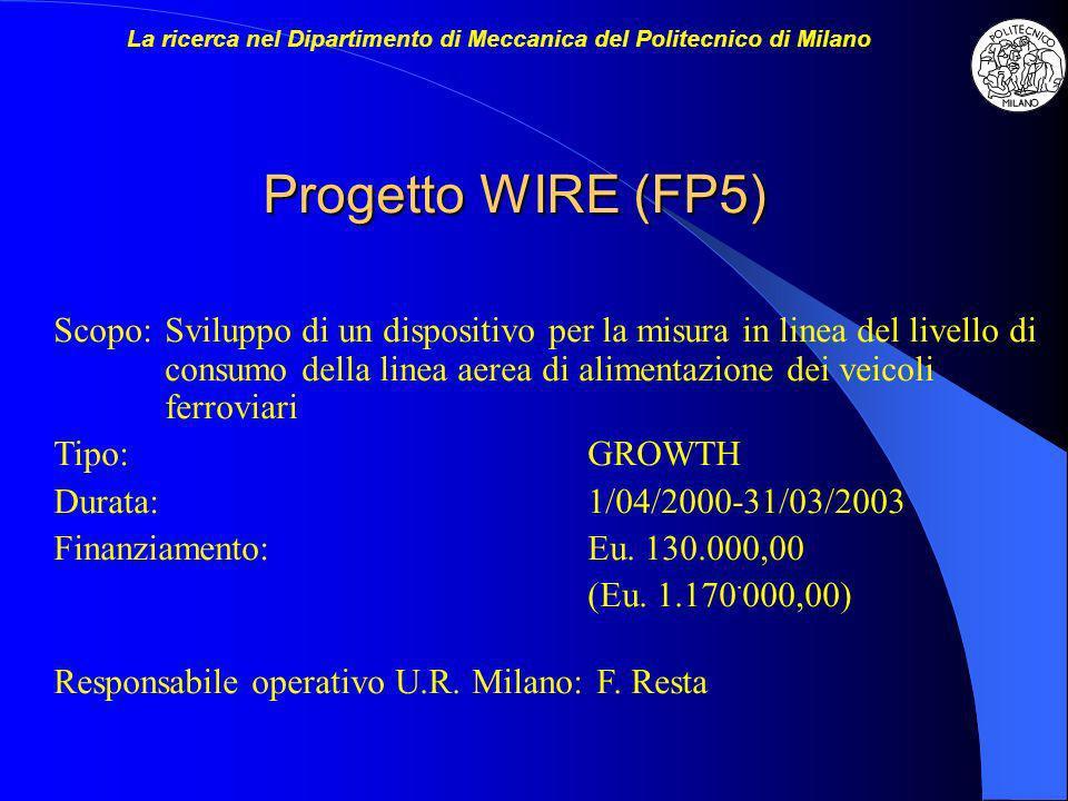 Progetto WIRE (FP5) Scopo:Sviluppo di un dispositivo per la misura in linea del livello di consumo della linea aerea di alimentazione dei veicoli ferroviari Tipo:GROWTH Durata:1/04/2000-31/03/2003 Finanziamento:Eu.