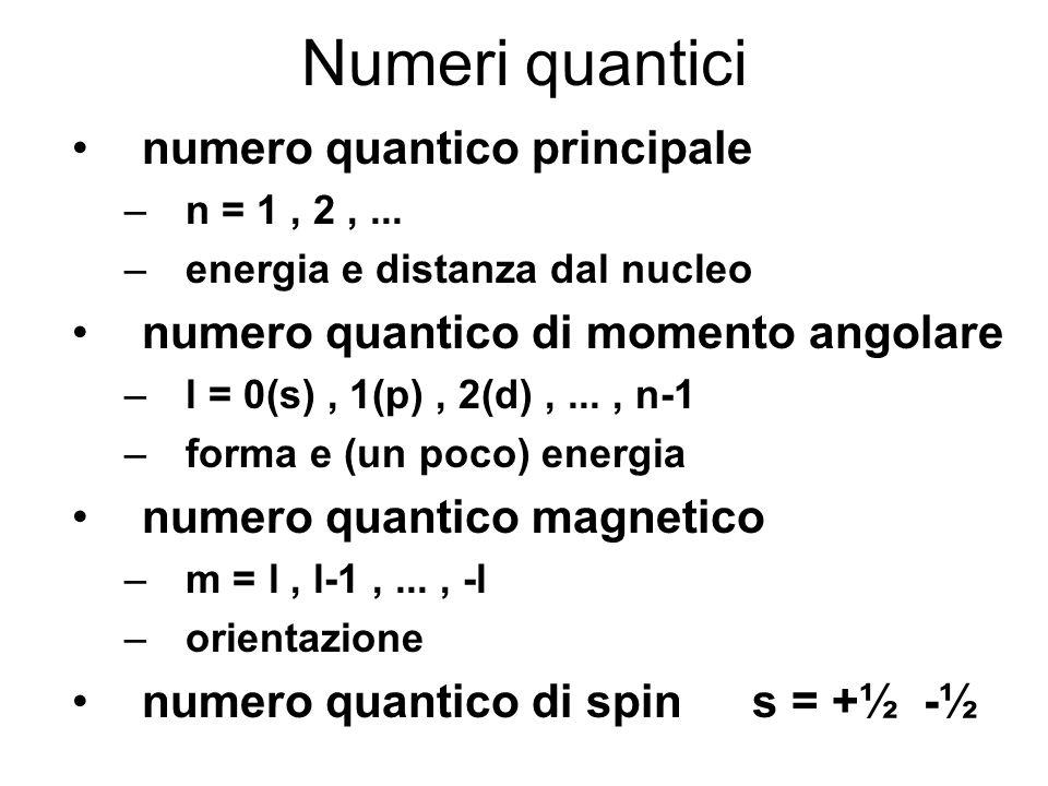 Numeri quantici numero quantico principale –n = 1, 2,... –energia e distanza dal nucleo numero quantico di momento angolare –l = 0(s), 1(p), 2(d),...,