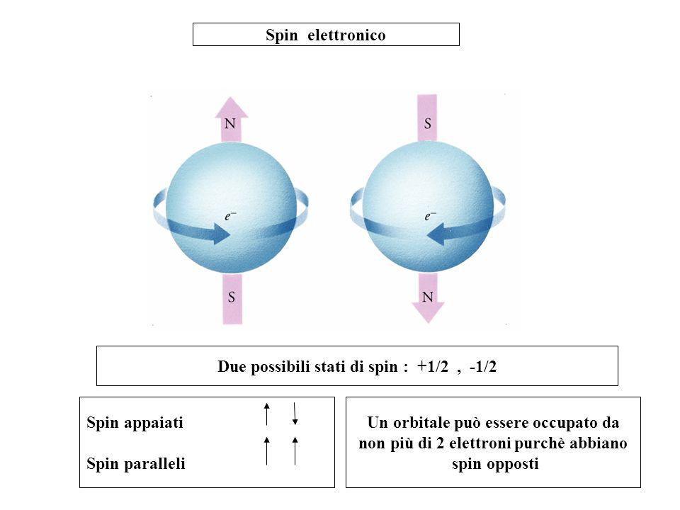 Spin elettronico Due possibili stati di spin : +1/2, -1/2 Spin appaiati Spin paralleli Un orbitale può essere occupato da non più di 2 elettroni purch