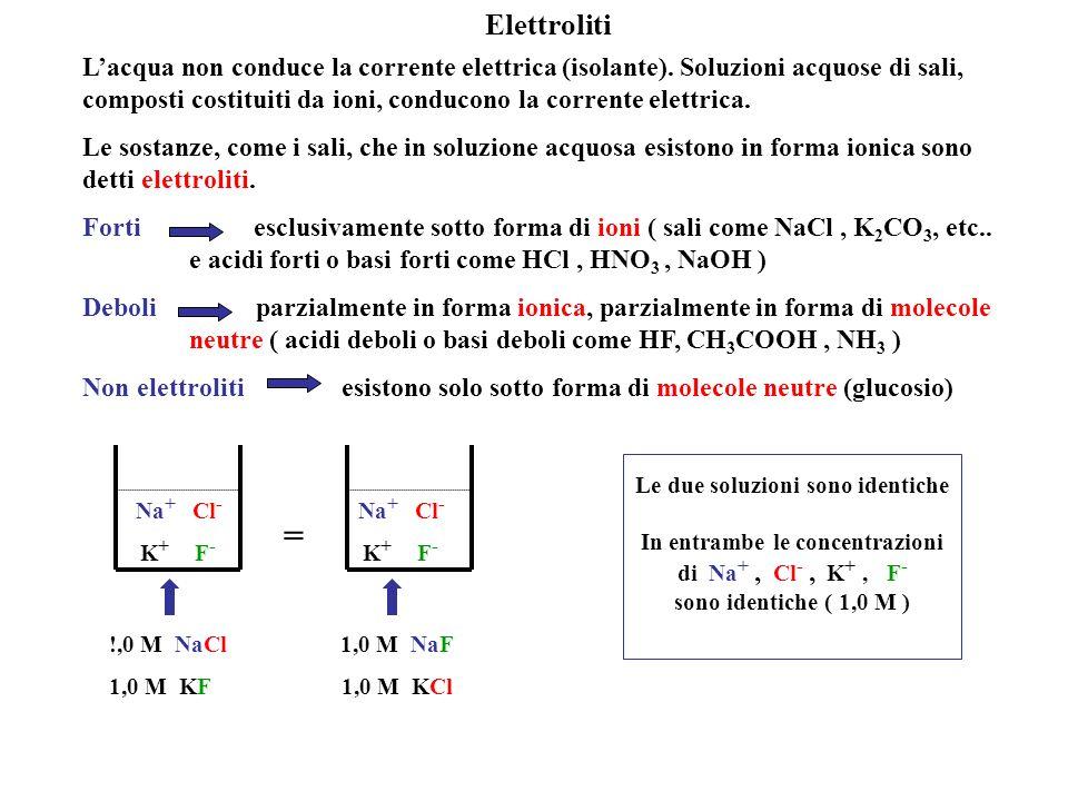Soluzioni di sali NaCl (s) Na + (aq) + Cl - (aq) KNO 3(s) K + (aq) + NO 3 - (aq) Na + K + Cl - NO 3 - KCl (s) K + (aq) + Cl - (aq) NaNO 3(s) Na + (aq) + NO 3 - (aq)