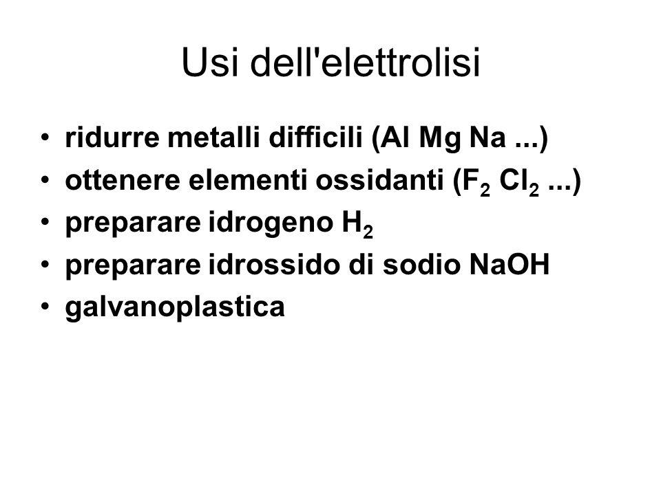Usi dell'elettrolisi ridurre metalli difficili (Al Mg Na...) ottenere elementi ossidanti (F 2 Cl 2...) preparare idrogeno H 2 preparare idrossido di s
