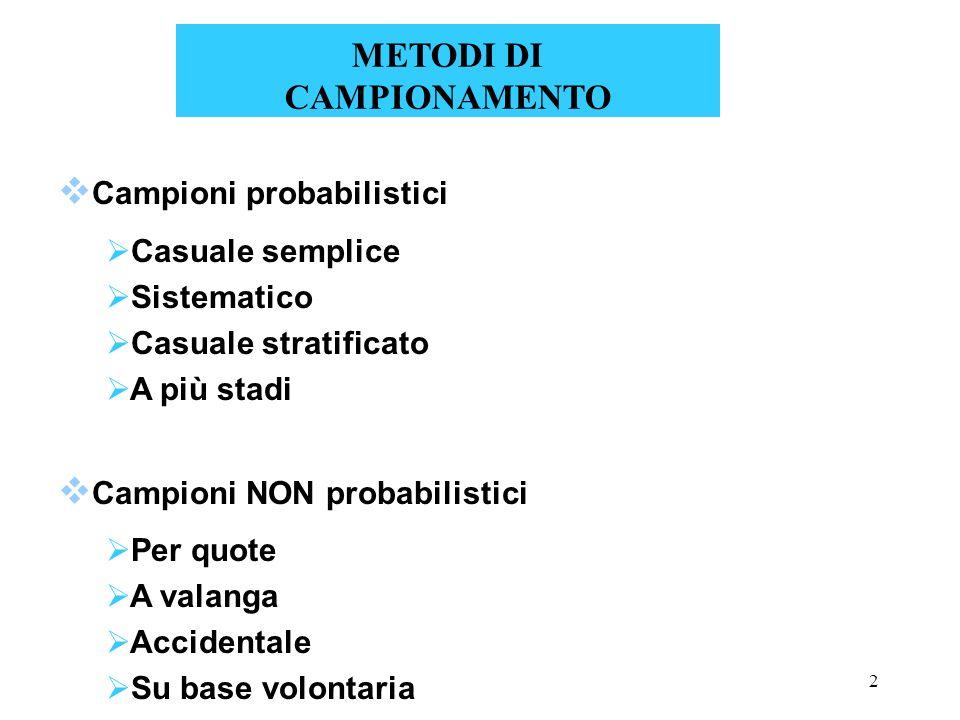 2 Campioni probabilistici Casuale semplice Sistematico Casuale stratificato A più stadi Campioni NON probabilistici Per quote A valanga Accidentale Su base volontaria METODI DI CAMPIONAMENTO