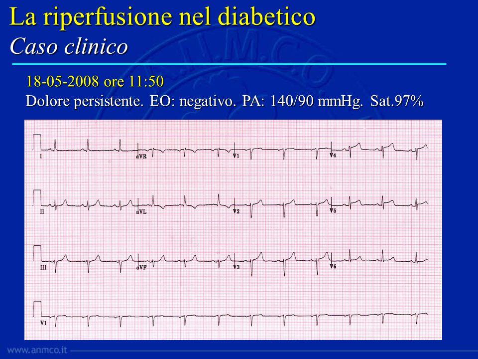 Contattata Cardiologia riferimento per trasferimento Trasporto 90 per ritardo ambulanza Terapia in PS: ASA 300 mg, UFH 5000, Abciximab, Clopidogrel 300 mg La riperfusione nel diabetico Caso clinico
