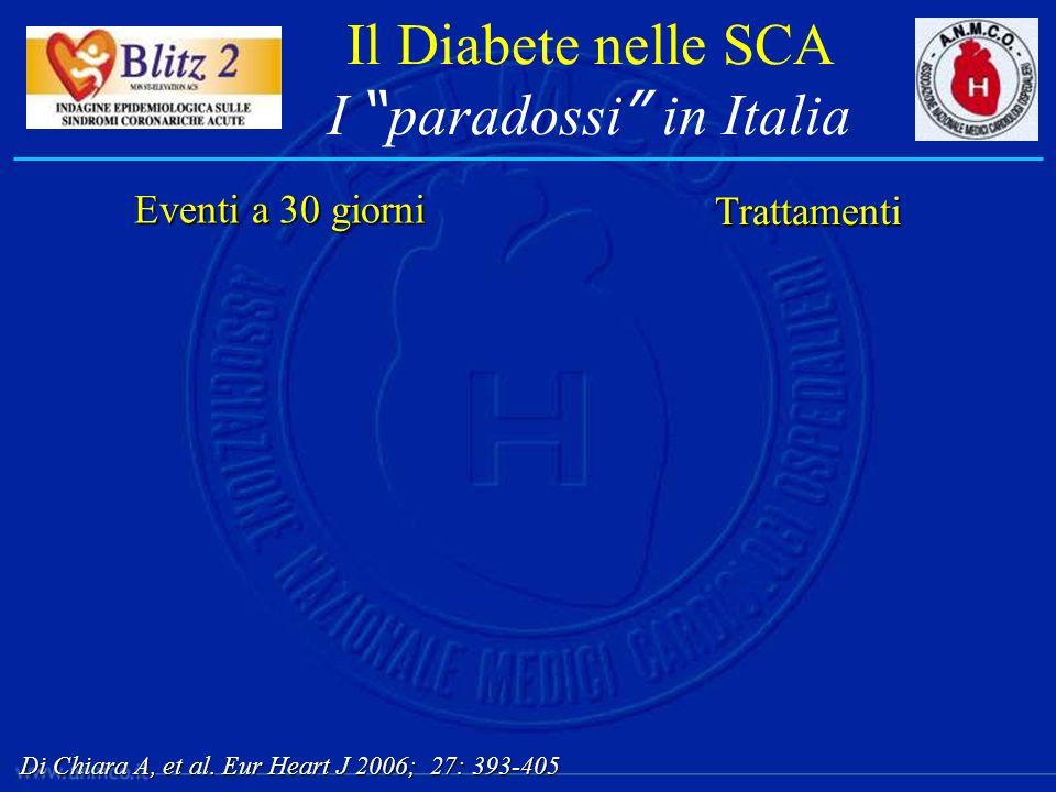 Il Diabete nelle SCA I paradossi in Italia Eventi a 30 giorni Trattamenti Di Chiara A, et al. Eur Heart J 2006; 27: 393-405
