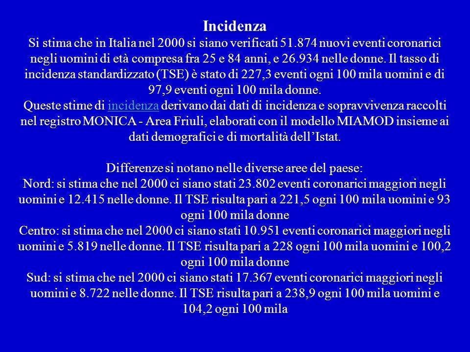 Incidenza Si stima che in Italia nel 2000 si siano verificati 51.874 nuovi eventi coronarici negli uomini di età compresa fra 25 e 84 anni, e 26.934 nelle donne.