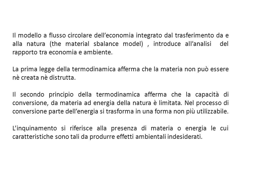 Il modello a flusso circolare delleconomia integrato dal trasferimento da e alla natura (the material sbalance model), introduce allanalisi del rappor