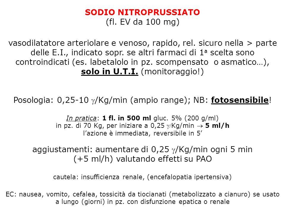 SODIO NITROPRUSSIATO (fl. EV da 100 mg) vasodilatatore arteriolare e venoso, rapido, rel. sicuro nella > parte delle E.I., indicato sopr. se altri far