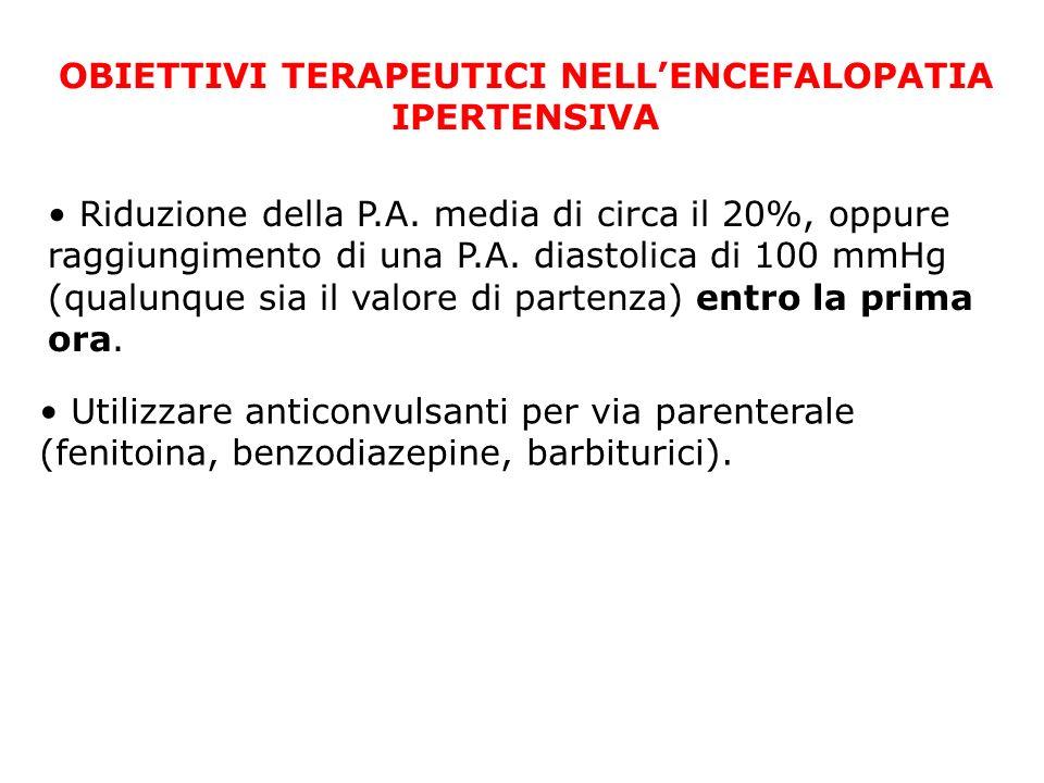 OBIETTIVI TERAPEUTICI NELLENCEFALOPATIA IPERTENSIVA Riduzione della P.A. media di circa il 20%, oppure raggiungimento di una P.A. diastolica di 100 mm