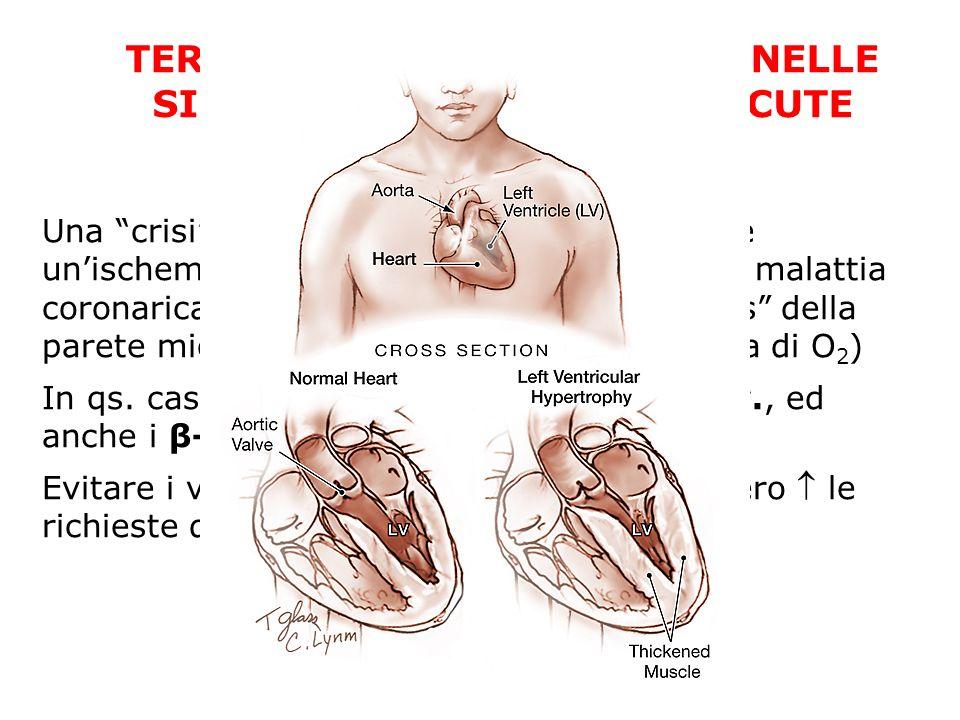 TERAPIA ANTI-IPERTENSIVA NELLE SINDROMI CORONARICHE ACUTE Una crisi ipertensiva grave può precipitare unischemia miocardica anche in assenza di malatt