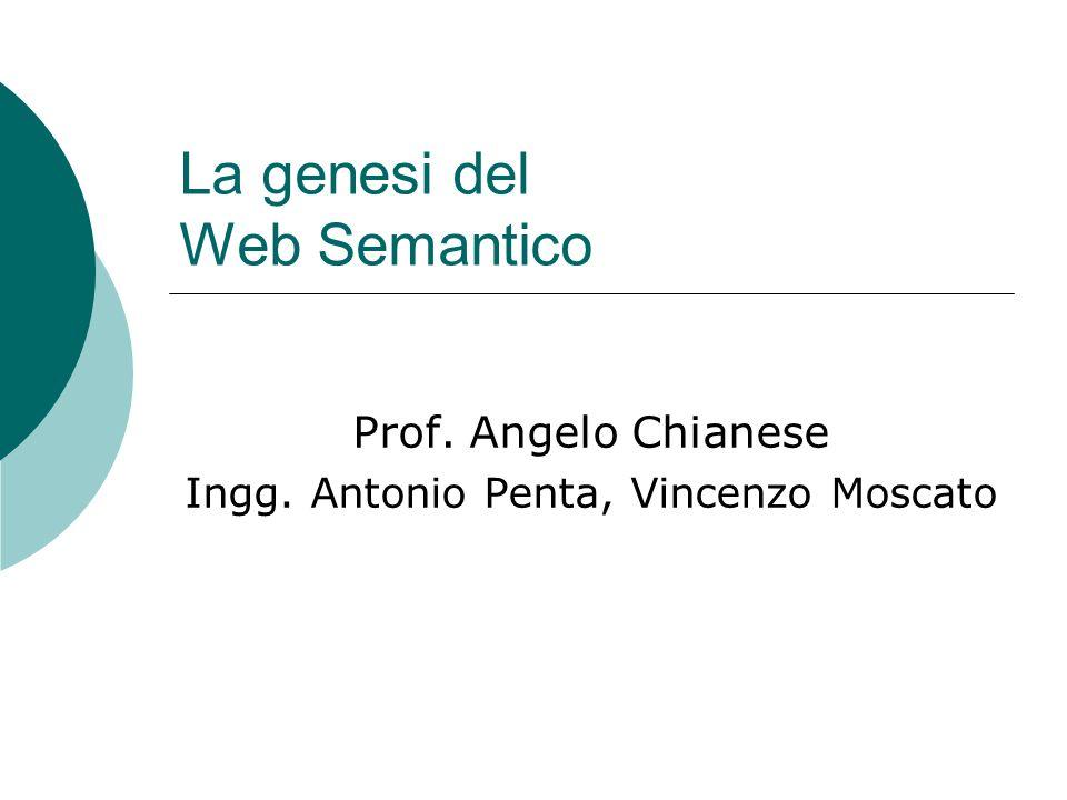 La genesi del Web Semantico Prof. Angelo Chianese Ingg. Antonio Penta, Vincenzo Moscato