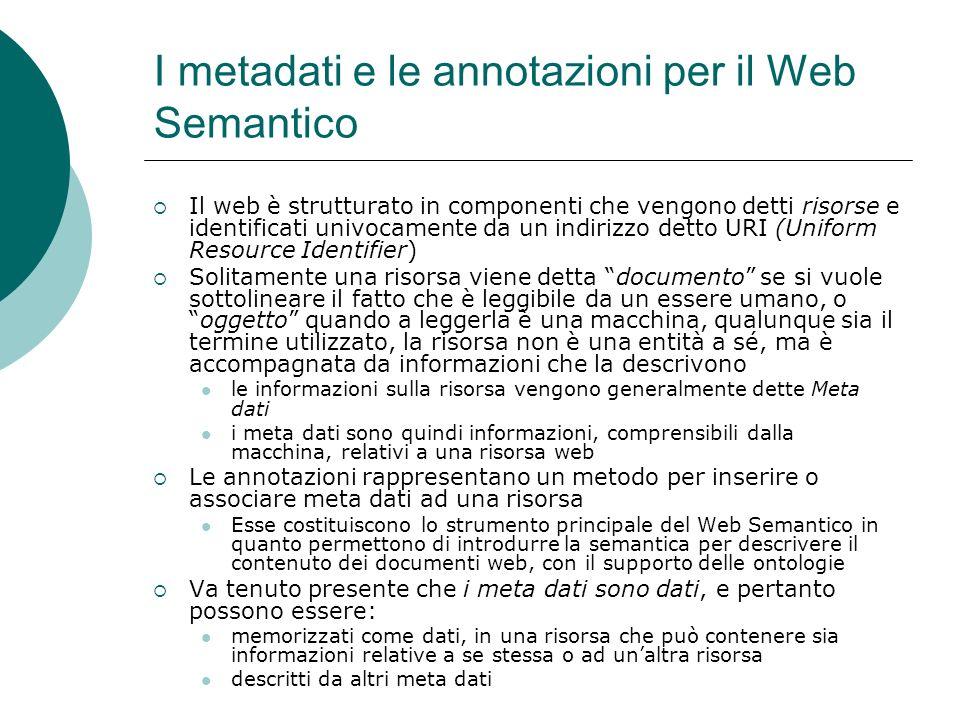 I metadati e le annotazioni per il Web Semantico Il web è strutturato in componenti che vengono detti risorse e identificati univocamente da un indiri