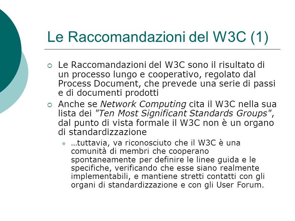 Le Raccomandazioni del W3C (1) Le Raccomandazioni del W3C sono il risultato di un processo lungo e cooperativo, regolato dal Process Document, che prevede una serie di passi e di documenti prodotti Anche se Network Computing cita il W3C nella sua lista dei Ten Most Significant Standards Groups , dal punto di vista formale il W3C non è un organo di standardizzazione …tuttavia, va riconosciuto che il W3C è una comunità di membri che cooperano spontaneamente per definire le linee guida e le specifiche, verificando che esse siano realmente implementabili, e mantiene stretti contatti con gli organi di standardizzazione e con gli User Forum.
