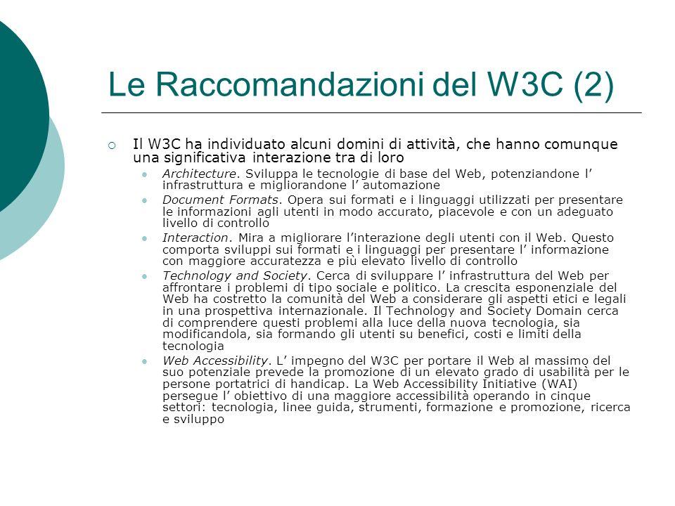 Le Raccomandazioni del W3C (2) Il W3C ha individuato alcuni domini di attività, che hanno comunque una significativa interazione tra di loro Architecture.