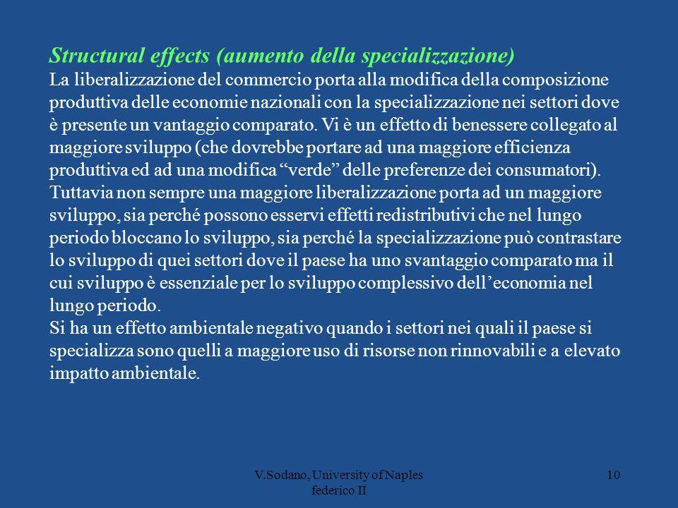 V.Sodano, University of Naples federico II 10 Structural effects (aumento della specializzazione) La liberalizzazione del commercio porta alla modifica della composizione produttiva delle economie nazionali con la specializzazione nei settori dove è presente un vantaggio comparato.