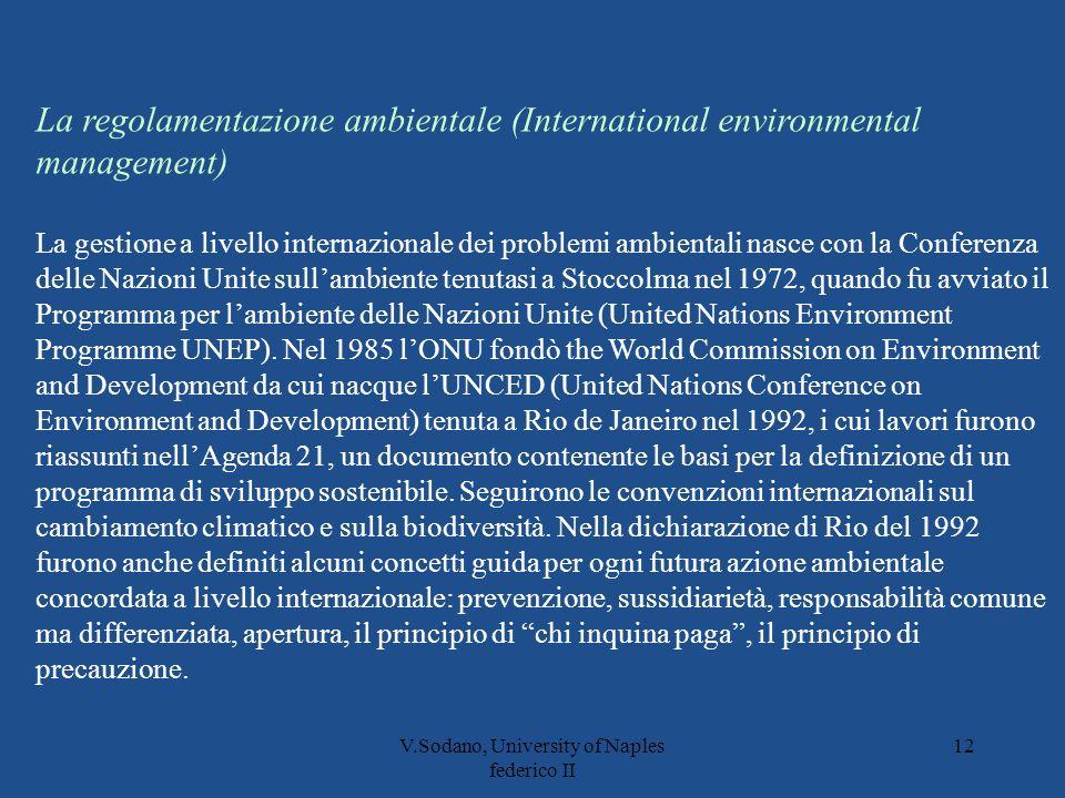 V.Sodano, University of Naples federico II 12 La regolamentazione ambientale (International environmental management) La gestione a livello internazionale dei problemi ambientali nasce con la Conferenza delle Nazioni Unite sullambiente tenutasi a Stoccolma nel 1972, quando fu avviato il Programma per lambiente delle Nazioni Unite (United Nations Environment Programme UNEP).
