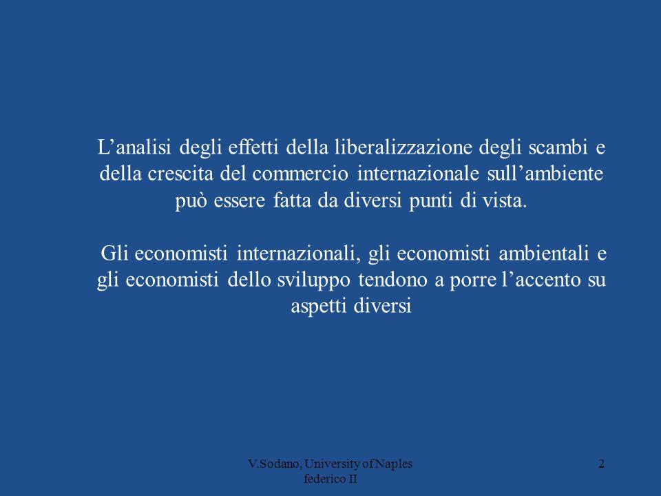 V.Sodano, University of Naples federico II 2 Lanalisi degli effetti della liberalizzazione degli scambi e della crescita del commercio internazionale sullambiente può essere fatta da diversi punti di vista.