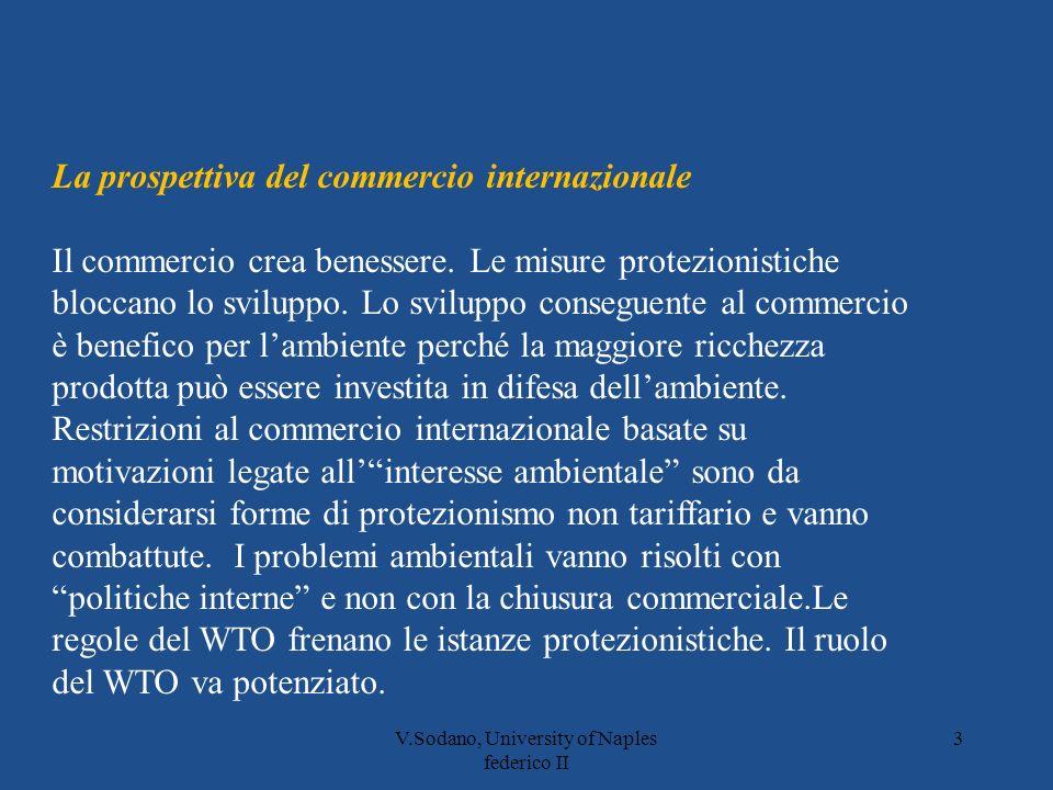 V.Sodano, University of Naples federico II 3 La prospettiva del commercio internazionale Il commercio crea benessere.