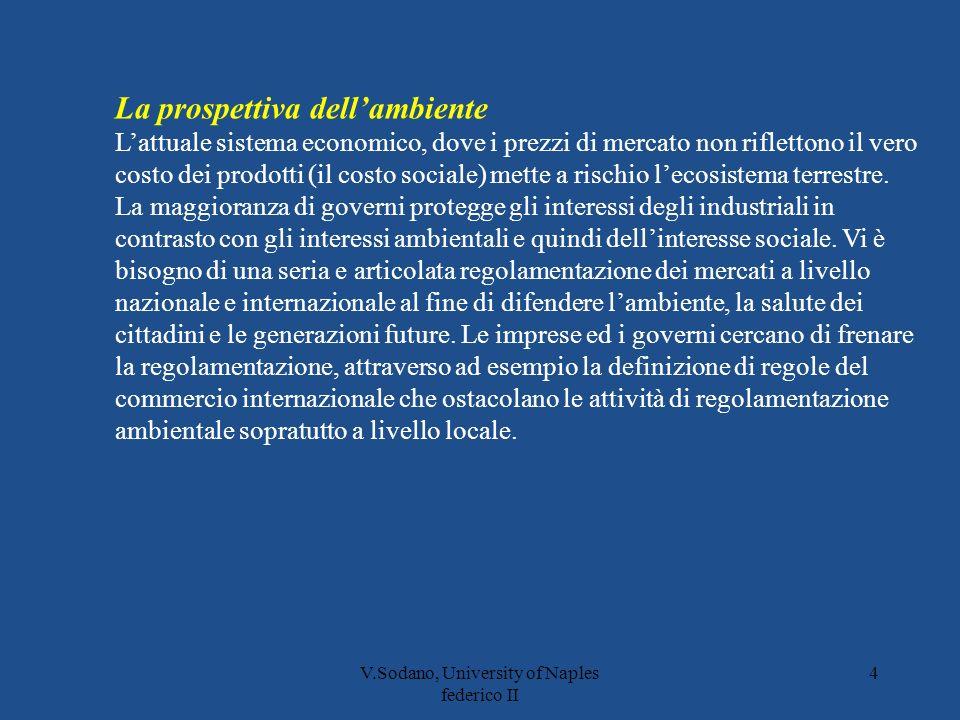 V.Sodano, University of Naples federico II 4 La prospettiva dellambiente Lattuale sistema economico, dove i prezzi di mercato non riflettono il vero costo dei prodotti (il costo sociale) mette a rischio lecosistema terrestre.