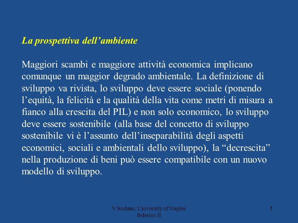 V.Sodano, University of Naples federico II 5 La prospettiva dellambiente Maggiori scambi e maggiore attività economica implicano comunque un maggior degrado ambientale.