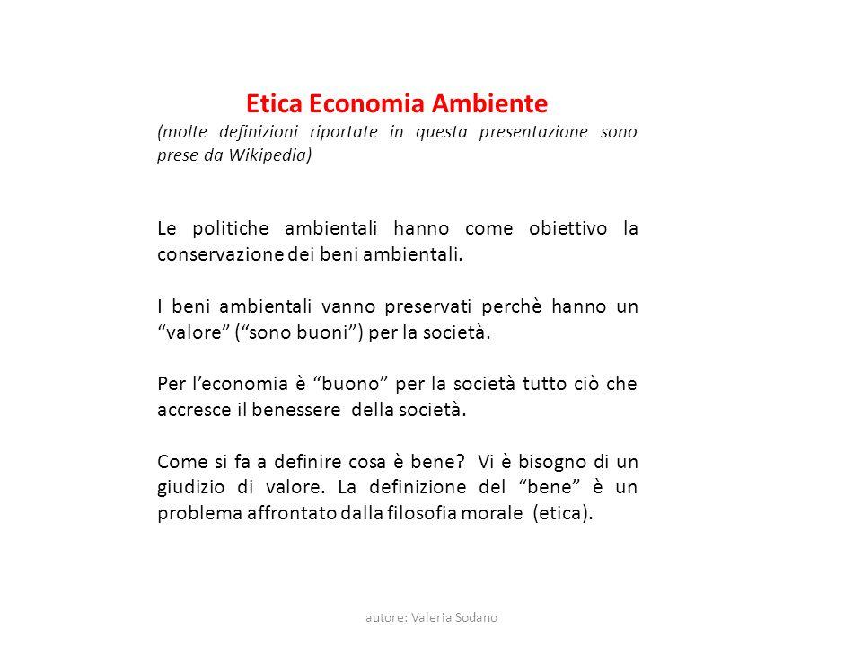 autore: Valeria Sodano Etica Economia Ambiente (molte definizioni riportate in questa presentazione sono prese da Wikipedia) Le politiche ambientali hanno come obiettivo la conservazione dei beni ambientali.