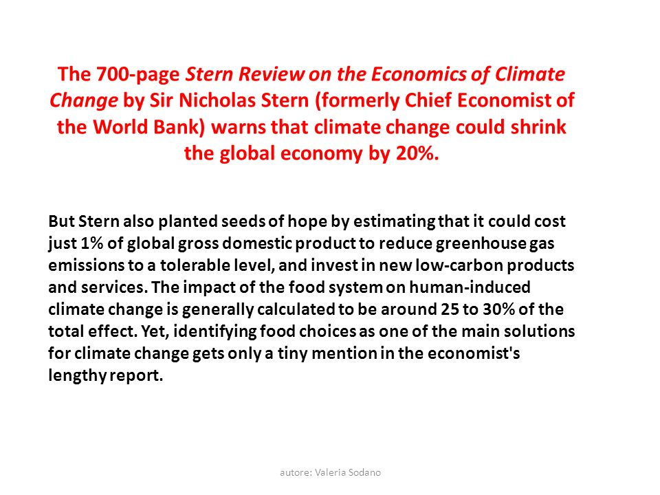 autore: Valeria Sodano The 700-page Stern Review on the Economics of Climate Change by Sir Nicholas Stern (formerly Chief Economist of the World Bank)