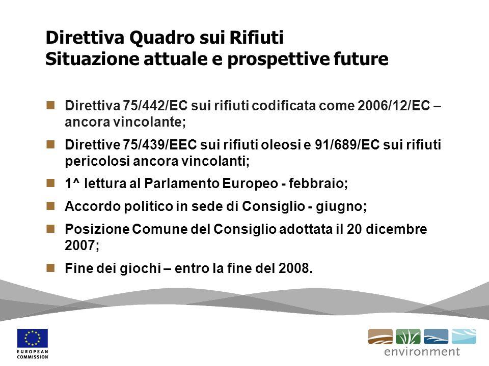 Direttiva 75/442/EC sui rifiuti codificata come 2006/12/EC – ancora vincolante; Direttive 75/439/EEC sui rifiuti oleosi e 91/689/EC sui rifiuti perico