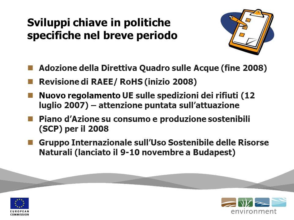 Adozione della Direttiva Quadro sulle Acque (fine 2008) Revisione di RAEE/ RoHS (inizio 2008) Nuovo regolamento UE sulle spedizioni dei rifiuti (12 lu