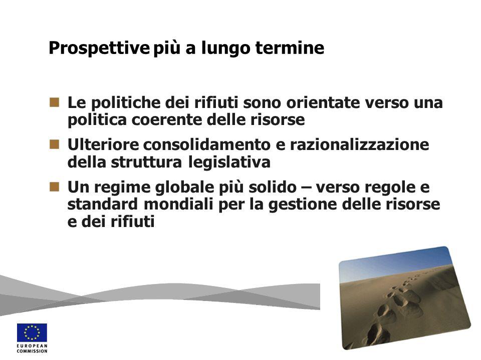 Le politiche dei rifiuti sono orientate verso una politica coerente delle risorse Ulteriore consolidamento e razionalizzazione della struttura legisla
