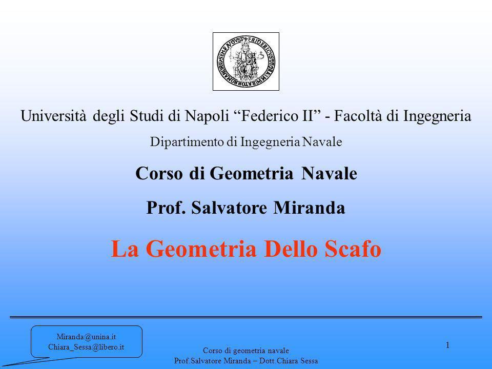 Corso di geometria navale Prof.Salvatore Miranda – Dott.Chiara Sessa 1 Università degli Studi di Napoli Federico II - Facoltà di Ingegneria Dipartimen